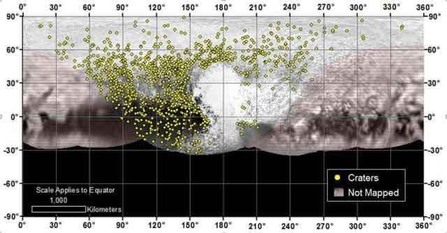 Emplacements de plus de 1 000 cratères localisés sur Pluton par la mission New Horizons, ce qui indique un large éventail d'âges de la surface. (NASA / JHUAPL / SwRI)