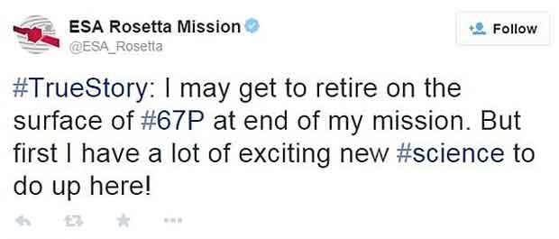 Rosetta a déjà partagé sur Twitter la forme de sa retraite.