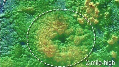Wright Mons est l'un des deux volcans repérés sur Pluton. (NASA / JHUAPL / SwRI)