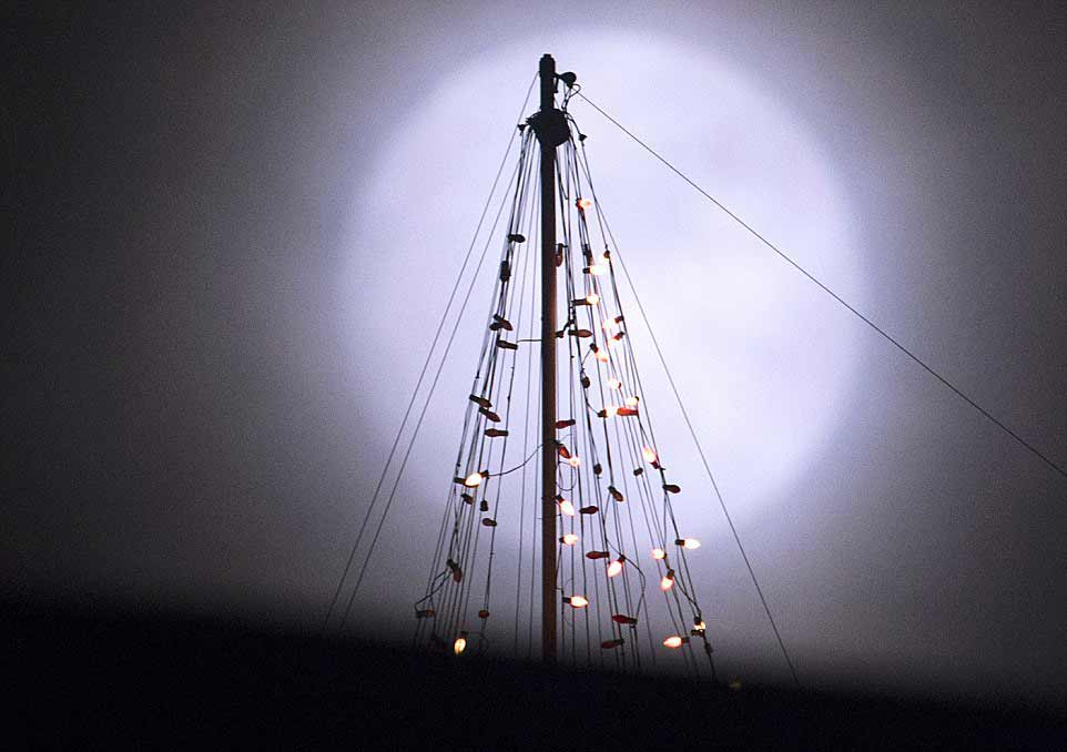 La pleine Lune derrière un arbre de Noël au-dessus du centre de conférences de l'Université du Tennessee à Knoxville