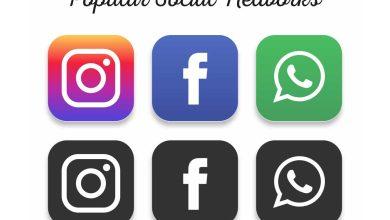 Icônes populaires de réseautage social : Facebook, Instagram et WhatsApp