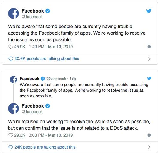 Tweet Facebook concernant la panne de ses réseaux sociaux: Facebook Whatsapp et Instagram