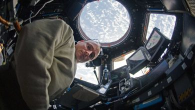 L'astronaute Scott Kelly dans la coupole de la Station spatiale internationale en 2011.