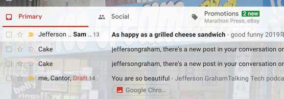 Google sépare le côté principal, le social et les promotions dans Gmail