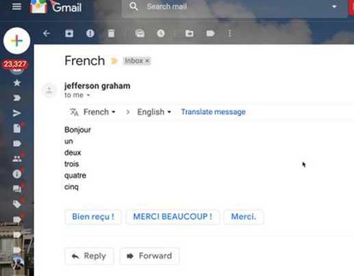 Google traduction intégrée dans Gmail