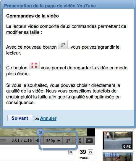 Commandes de la vidéo