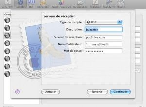 Photo de Mac : configuration de Mail pour récupérer ses emails de live.fr