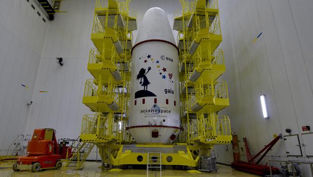 La capsule profilée dans laquelle Gaia sera lancé jeudi depuis le Centre spatial guyanais (CSG), à Kourou, qui sert de port spatial aux projets européens.