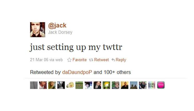 Le tout premier tweet, posté par Dorsey.