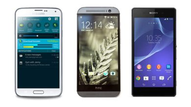 Samsung Galaxy S5, Sony Xperia Z2 et HTC One M8, soit le top des smartphones sous Android
