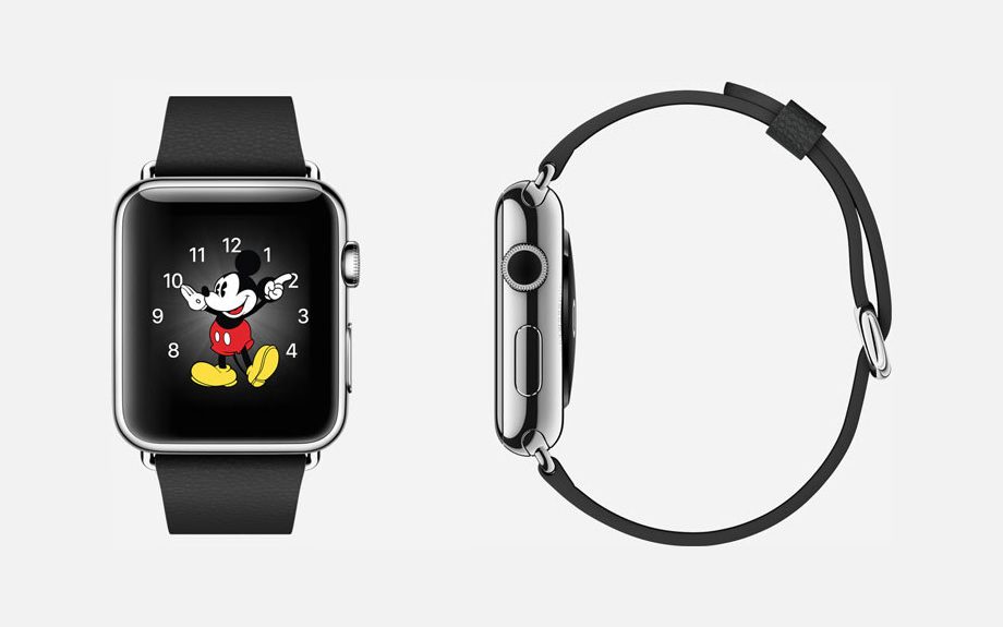 APPLE WATCH : 38mm and 42mm Case - 316L Stainless Steel - Sapphire Crystal Display - Ceramic Back - Classic Buckle - Black Leather - Stainless Steel Buckle