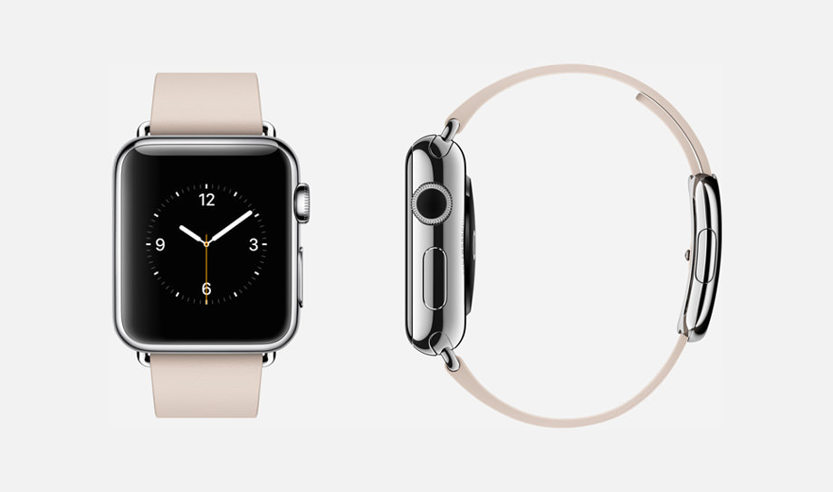 APPLE WATCH : 38mm Case - 316L Stainless Steel - Sapphire Crystal Display - Ceramic Back - Modern Buckle - Soft Pink Leather - Stainless Steel Buckle