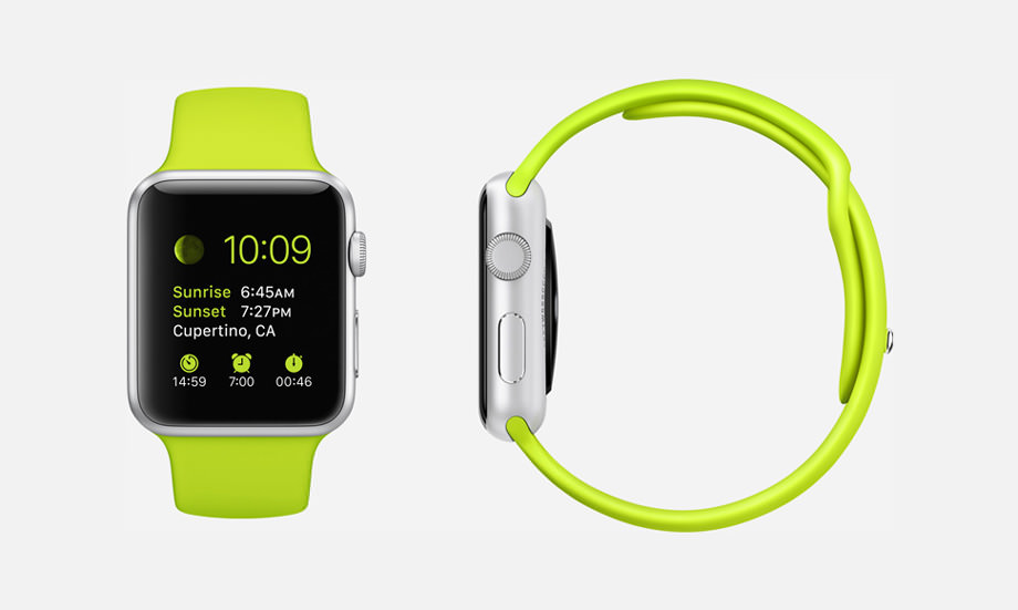 APPLE WATCH SPORT : 38mm and 42mm Case - 7000 Series Silver Aluminum - Ion-X Glass Display - Composite Back - Sport Band - Green Fluoroelastomer - Stainless Steel Pin