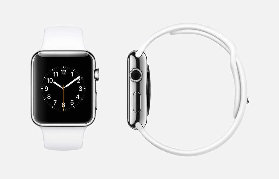 APPLE WATCH : 38mm and 42mm Case - 316L Stainless Steel - Sapphire Crystal Display - Ceramic Back - Sport Band - White Fluoroelastomer - Stainless Steel Pin