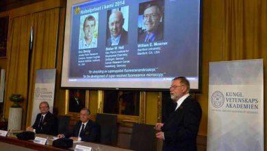 Le jury annonçant les gagnants, Eric Betzig, Stefan Hell et William Moerner.