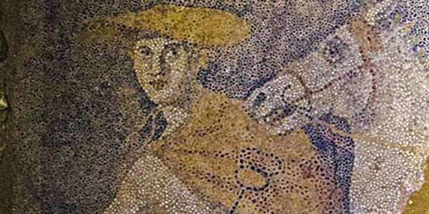Mosaïque, représentant le dieu Hermès, retrouvée à Amphipolis.