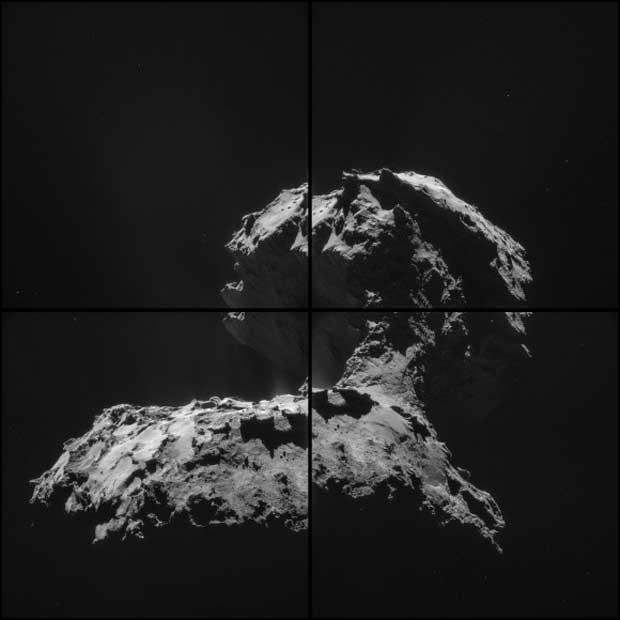Émissions de poussières et éruptions de gaz dans la région du « cou »de la comète 67P/Churyumov-Gerasimenko dans une mosaïque prise par la sonde Rosetta le 26 novembre 2014.. Crédit : ESA/Rosetta/NAVCAM – CC BY-SA 3.0 d'IGO.