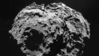 Photo of Philae : est-ce que le module est dans un cratère ?