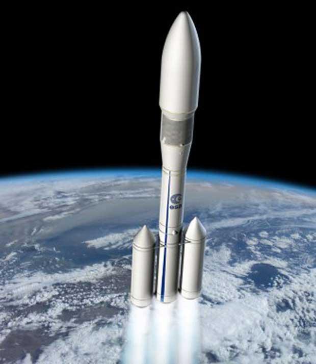 Voici une représentation de la future fusée Ariane 6 de l'ESA.