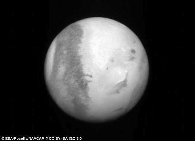 Image de Mars prise par Rosetta en 2007, lorsqu'elle a utilisé son « assistance gravitationnelle ».
