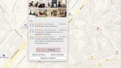 Les avis de Booking.com et TripAdvisor dans Apple Plans