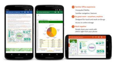 Photo de Android : Microsoft propose une nouvelle version de Word, Excel et PowerPoint