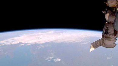 Vue du vaisseau Soyouz TMA-15M qui doit ramener sur Terre 3 des 6 astronautes actuellement à bord de l'ISS.