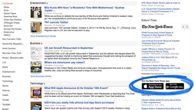 Google News permet d'indiquer les applications disponibles