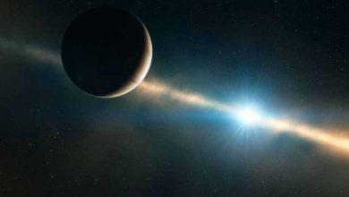 Illustration d'artiste de l'exoplanète Beta Pictoris b et de sa lointaine étoile, Beta Pictoris. — ESO/L. Calçada/Wikimedia Commons