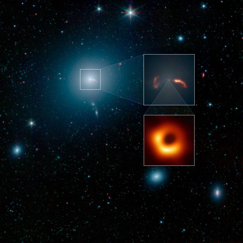 Une image grand champ de la galaxie M87 a été prise par le télescope spatial Spitzer de la NASA.