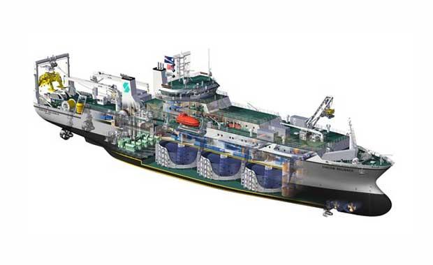 Un rendu de l'un des navires de câble spécialisés de classe Reliance de SubCom.