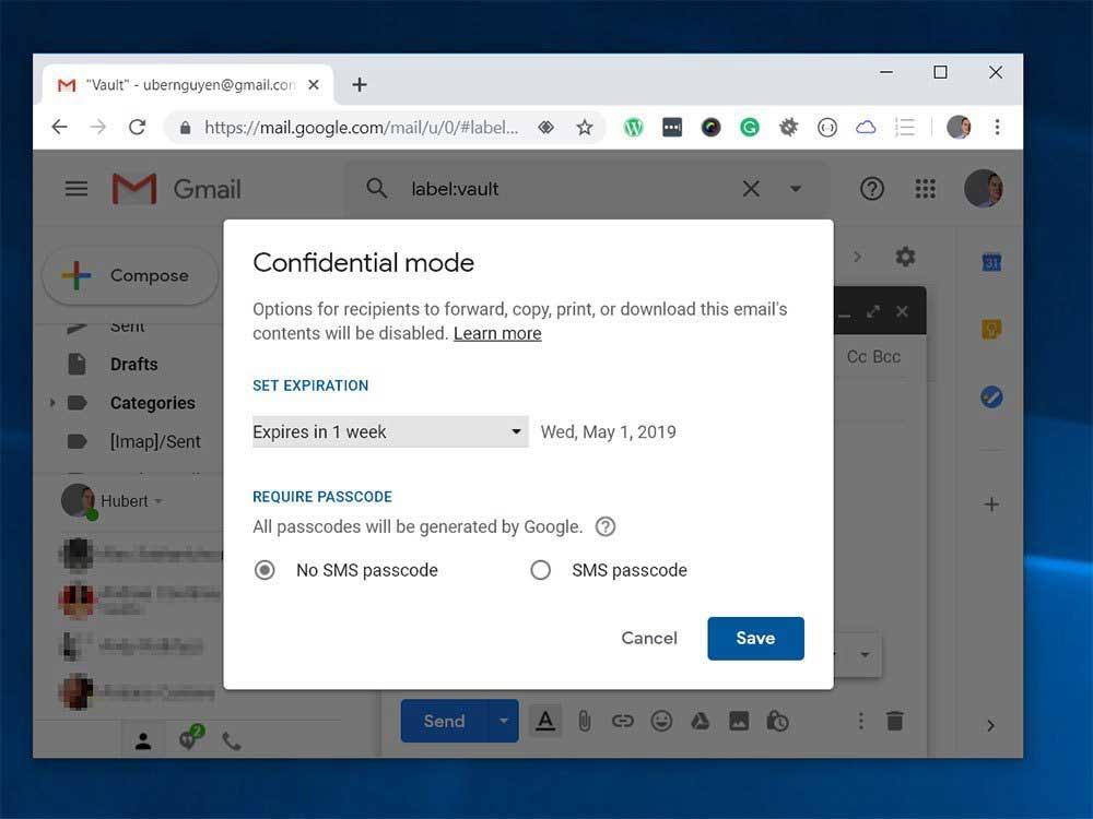 Gmail : En cliquant sur l'icône ouvre le mode confidentiel