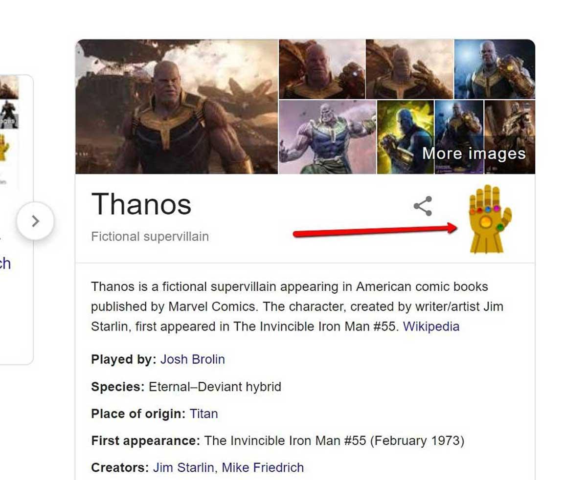 Avengers : Thanos s'invite dans un easter egg Google, Snap !