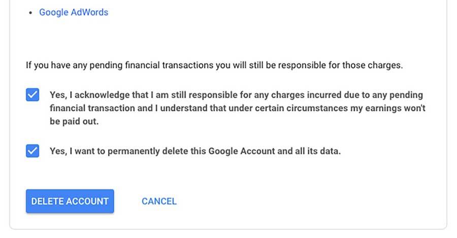Confirmer que vous souhaitez supprimer votre compte Gmail et ses données