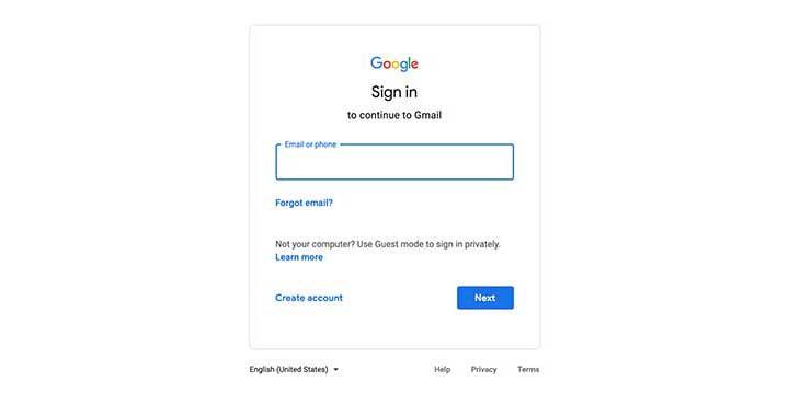 Entrez vos informations d'identification Gmail.