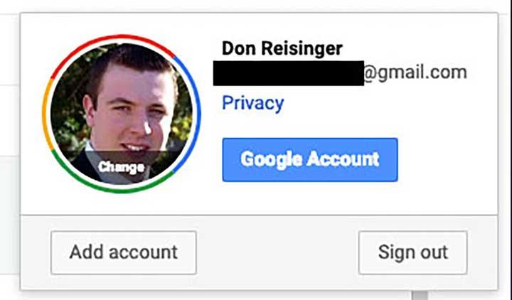 """Cliquez sur """"compte Google""""."""