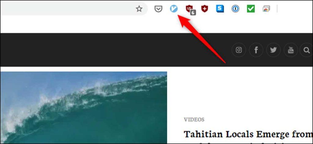 Lorsque Vimium est actif, son icône est bleue.