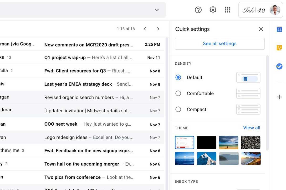 Le nouveau menu de configuration rapide apparaîtra dans la partie supérieure droite de votre fenêtre Gmail.