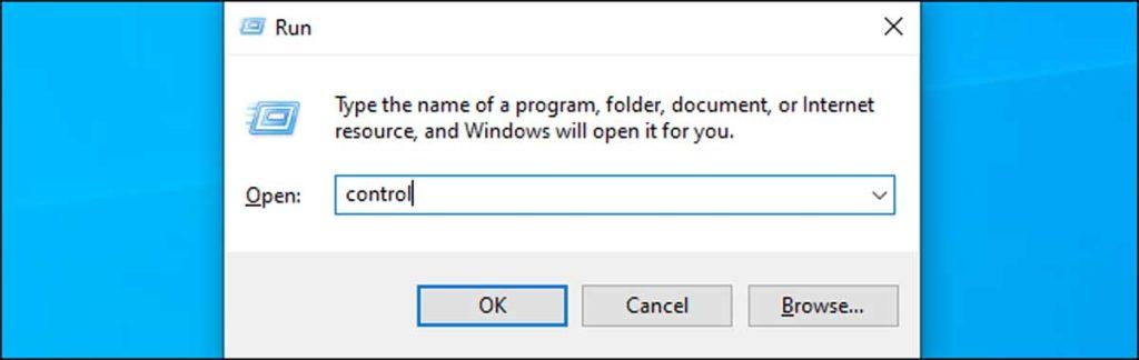 Windows 10 : run control
