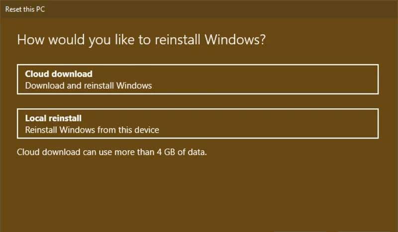 Téléchargez une nouvelle copie de Windows 10 lors de la réinitialisation de votre PC