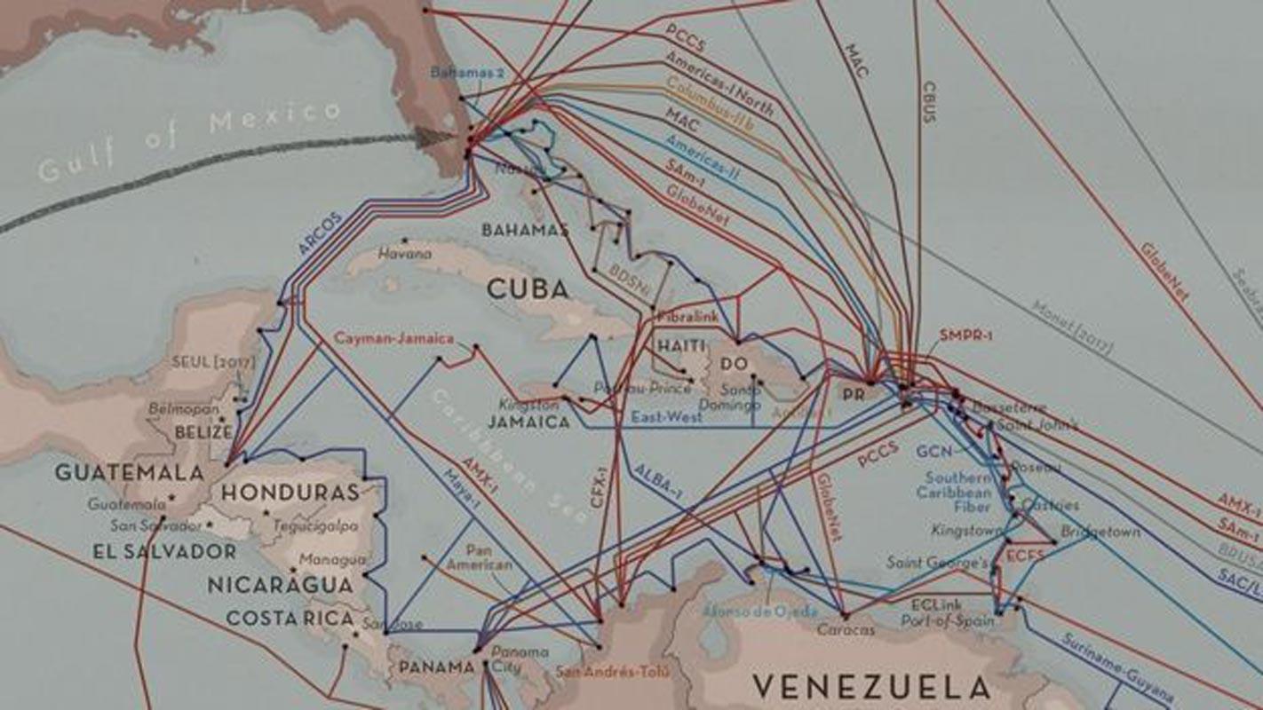 """La première """"veine"""" de l'internet a connecté le Royaume-Uni aux États-Unis. C'est ce que montre cette image tirée de la carte des câbles sous-marins."""