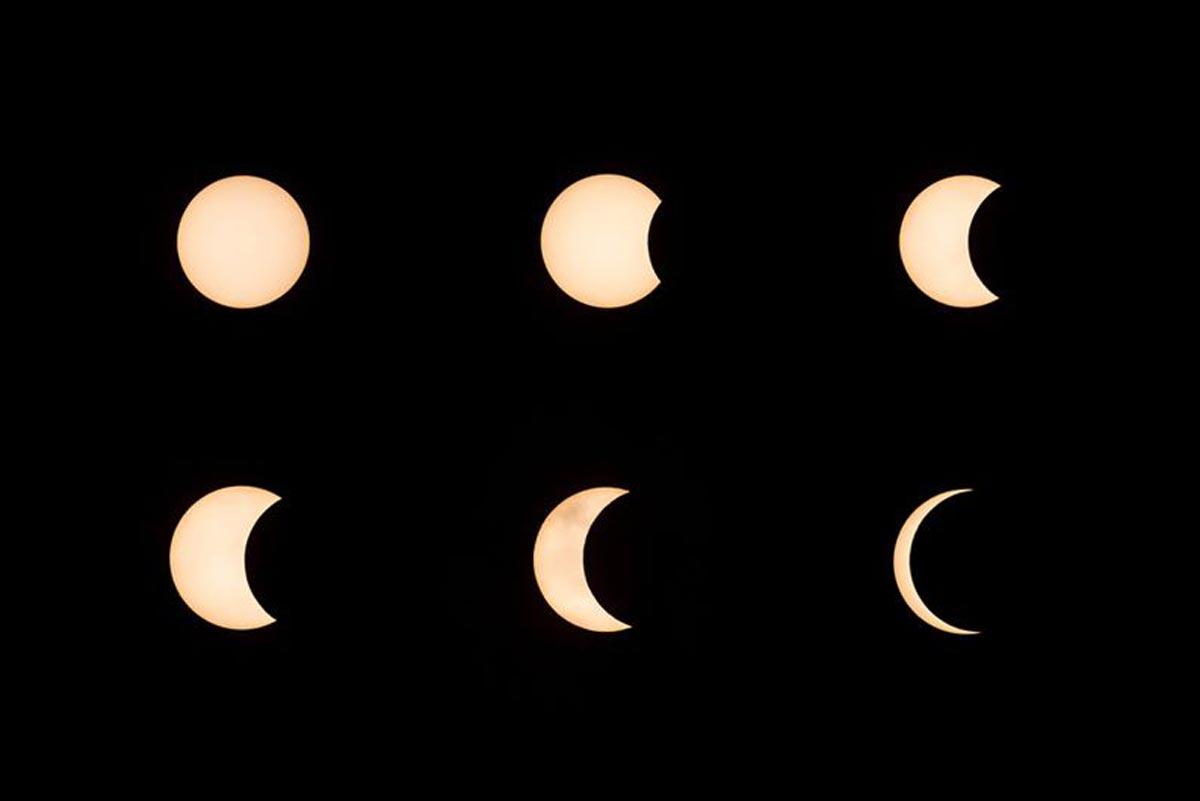 Ces images montrent la lune se déplaçant devant le soleil pendant l'éclipse solaire annulaire.