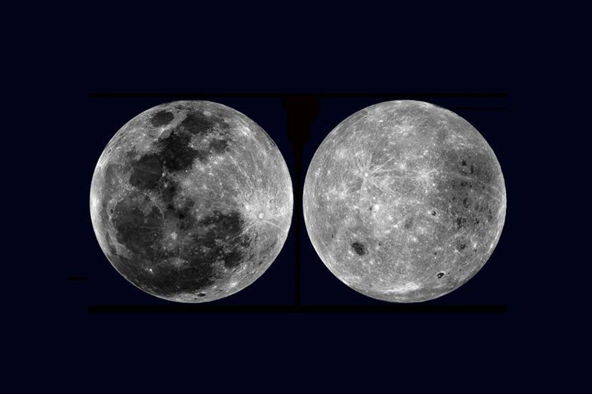 Image des deux faces de la Lune : à gauche celle qui est visible depuis la Terre ; à droite celle qui est cachée à nos yeux - NASA