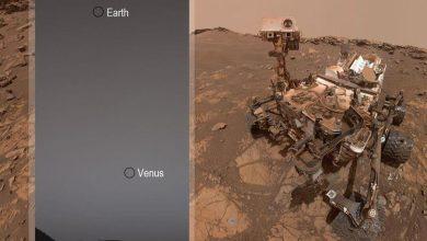 L'aspect de la Terre et de Vénus depuis Mars, photographié par le rover Curiosity