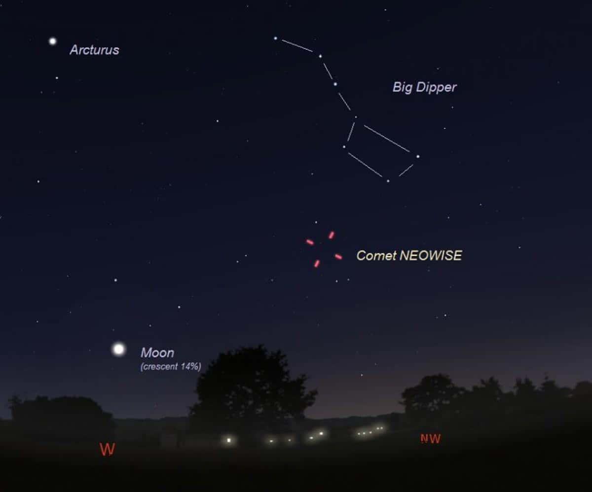 Emplacement de la comète NEOWISE la nuit de l'approche la plus proche de la Terre.
