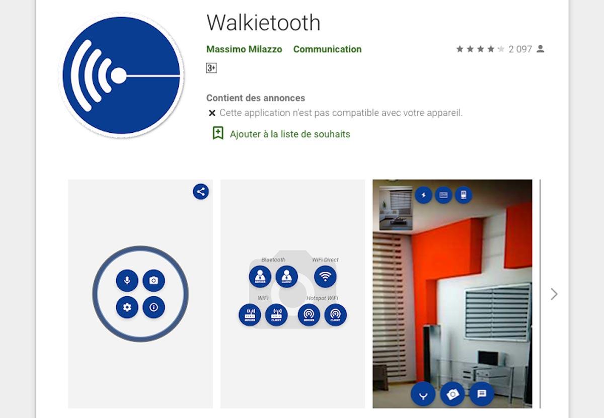 Walkietooth est uniquement disponible pour Android.