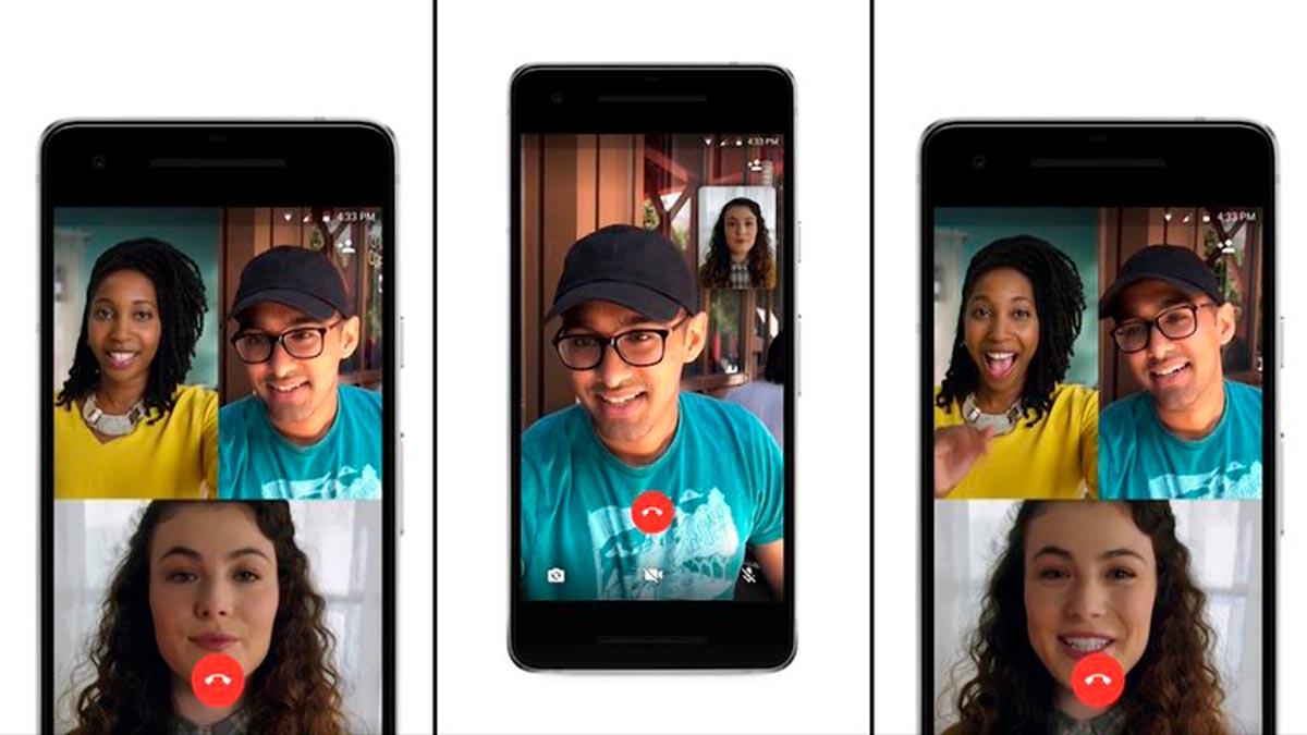 Depuis WhatsApp, vous pouvez passer des appels vidéo avec un maximum de 8 participants ou 50 si vous vous connectez à Messenger.