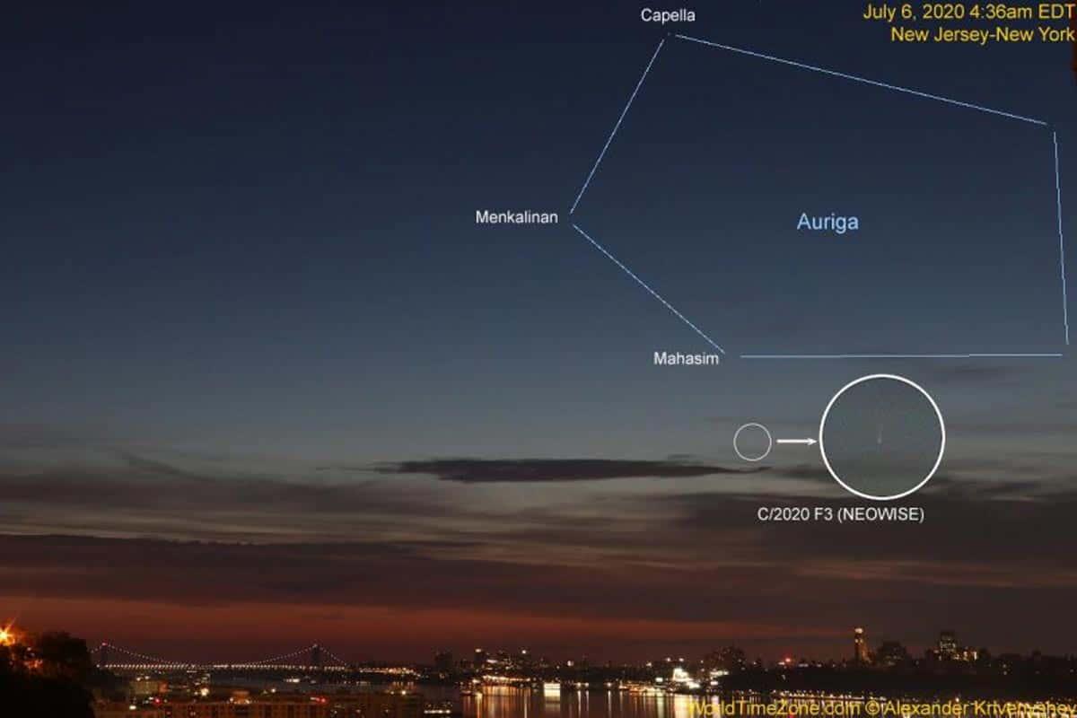Image de la comète C/2020 F3 (NEOWISE) à New York City.