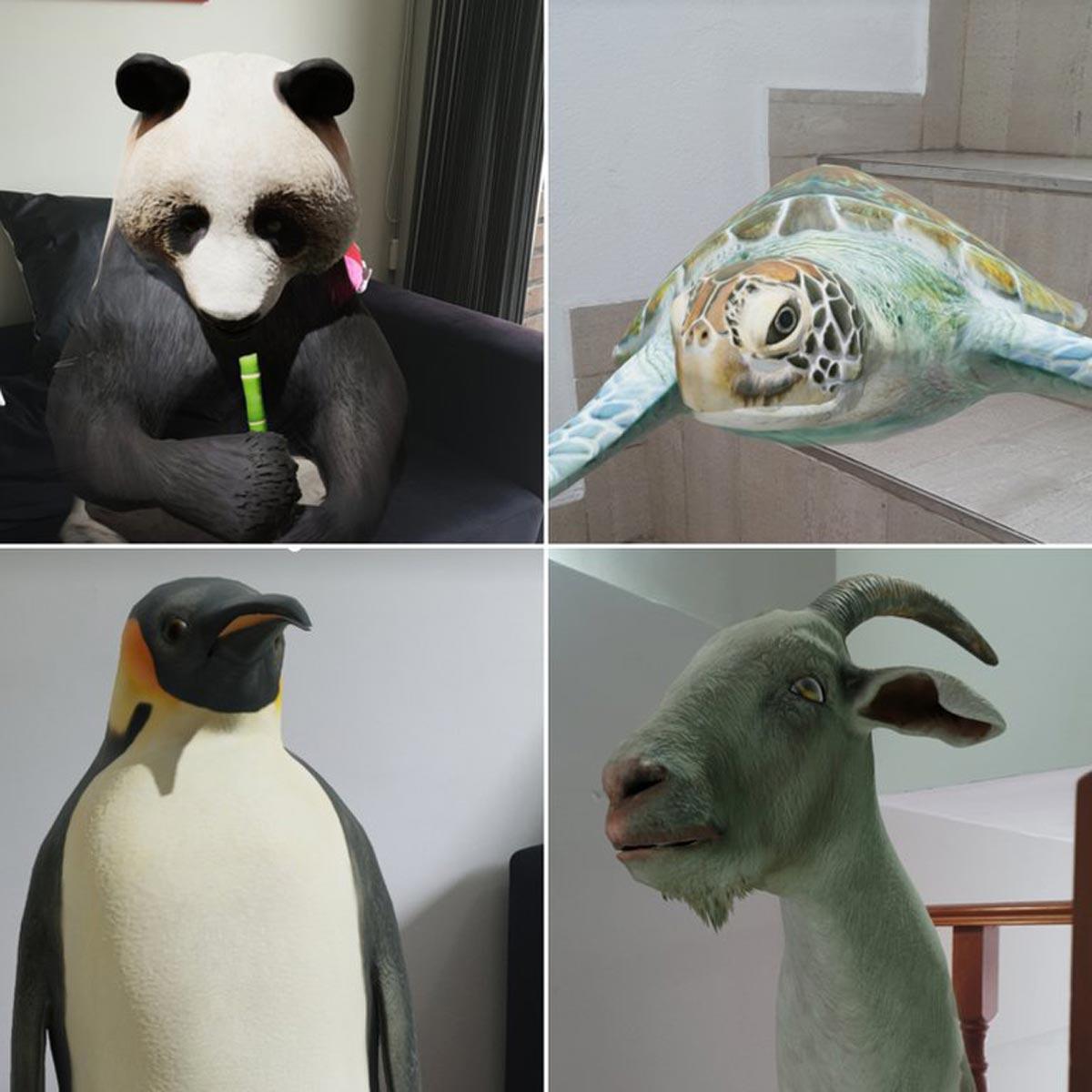 Quelques-uns des nombreux animaux en réalité augmentée trouvés dans le moteur de recherche Google.