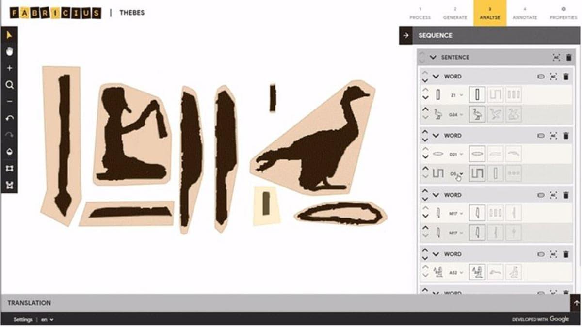 Fabricius, un nouvel outil numérique qui, grâce à un apprentissage automatisé, permet aux gens d'interpréter la langue ancienne de l'Égypte et de la découvrir de manière interactive.